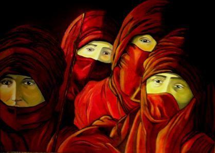 Arabische vrouwen bij het kampvuur