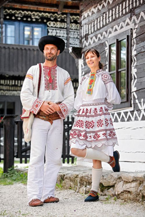Čičmany village, Považie region, Western Slovakia.Note: this version is more archaic than the one with rich, orange embroidery.