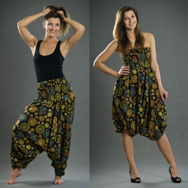 I really want it...Thao - Kalhoty/šaty Aladin – černé s hnědými kolečky