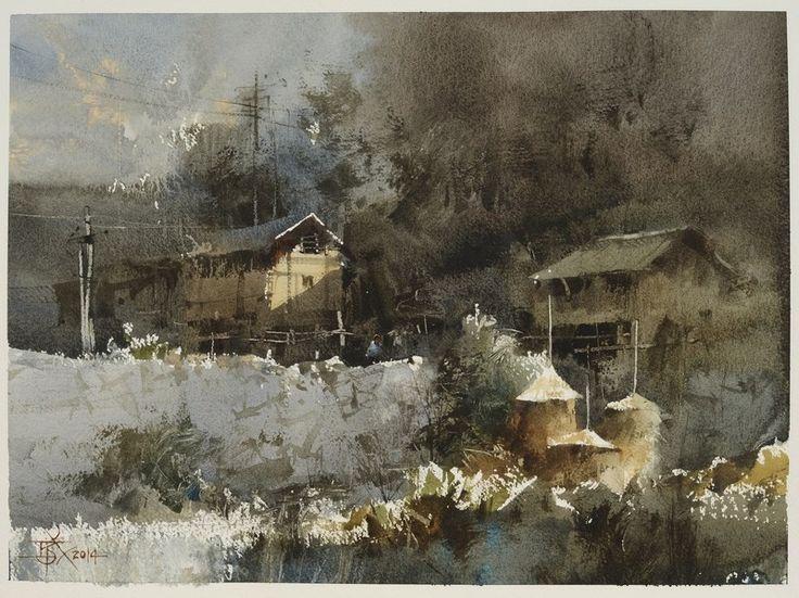 Chien Chung-Wei     Plein air in Langde Village part 3,....Chien Chung-Wei 中山國際水彩名家邀請展的貴州寫生之旅第四天----朗德上寨3