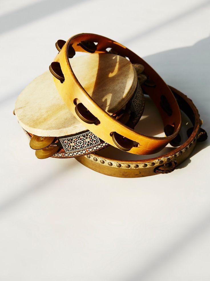 Vintage Tambourine Set | Set of three vintage wooden tambourines.