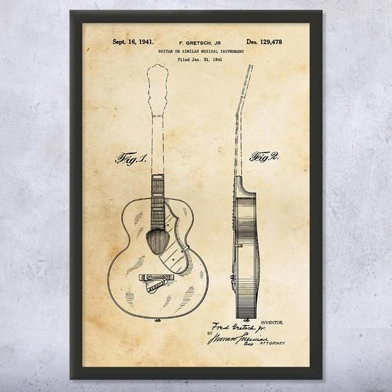 Framed Acoustic Guitar Print Guitarist Gift Guitar Wall Art Etsy Guitar Wall Art Musician Gifts Etsy Wall Art