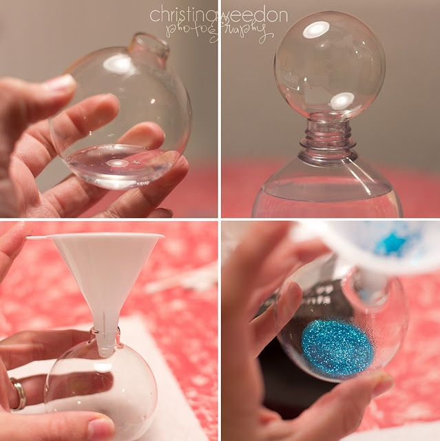 Making ornaments with the glitter INSIDE the bulb! I did this only I used Mop N Glo and it worked beautifully and then I put initials on them with glitter vinyl stickers. Great gifts!