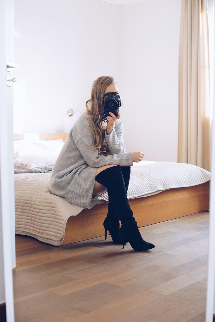 Knit dress & over the knee boots @monasdailystyle http://www.monasdailystyle.com/2017/01/30/neulemekko-ylipolvensaappaat/