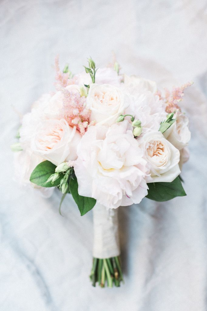 Blush Bridal Bouquet, Florida Weddings, Peonies, Roses, Real Florida Wedding: Christina Frate and Andrew Criggs, The Ritz-Carlton, Naples | Weddings Illustrated