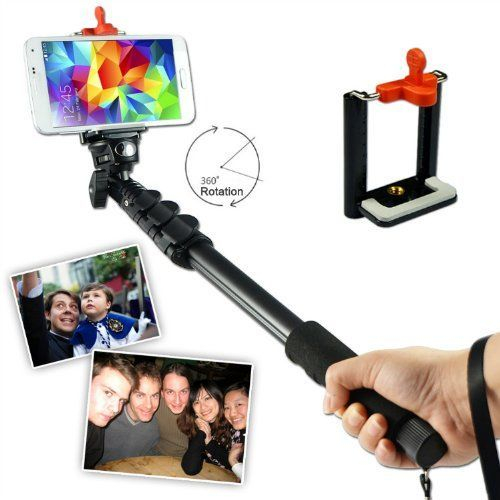 First2savvv ZP-188A01 black Self-portrait extendable telescopic handheld Pole Arm monopod Camcorder/Camera/mobile phone tripod mount adapter bundle for HTC Desire HD