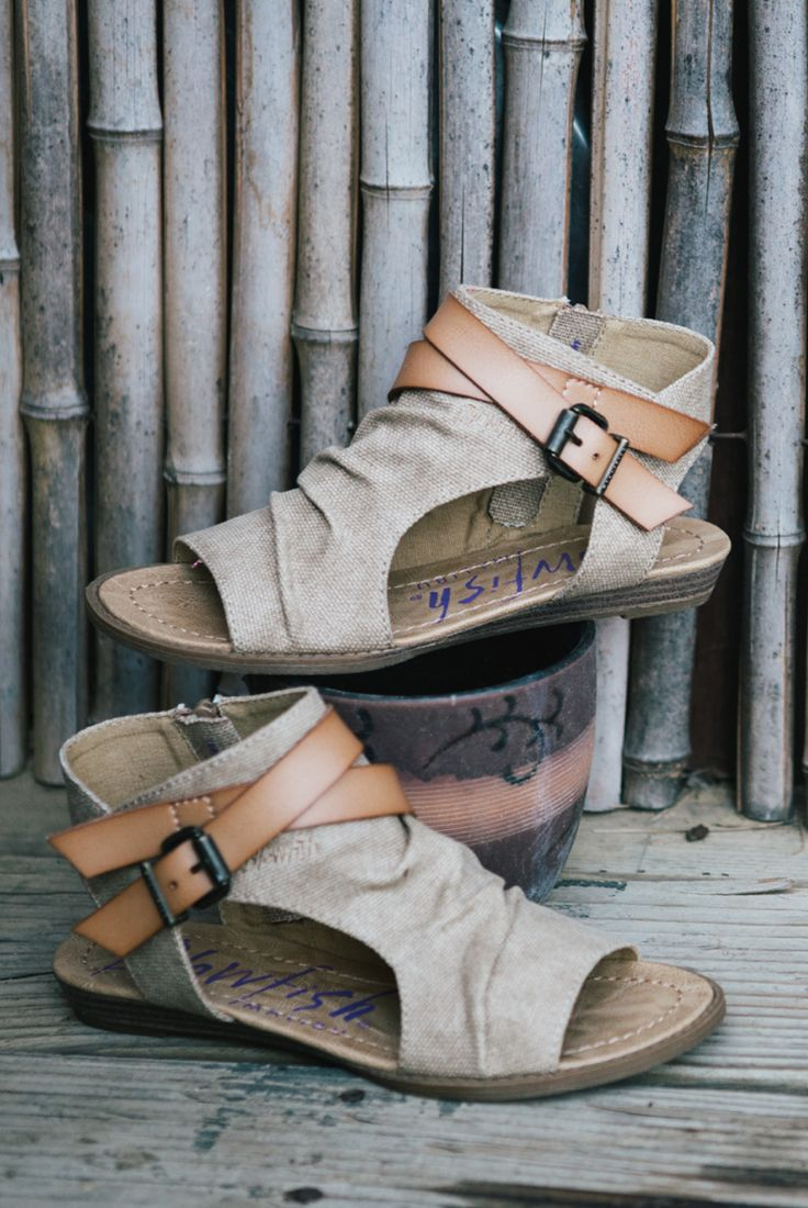Cutout tan sandal with straps in desert sand by Blowfish Shoes is the trendy sandal of Spring and Summer 2017