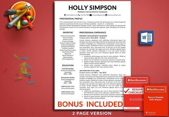 Resume Template | CV Template +bonus  @creativework247
