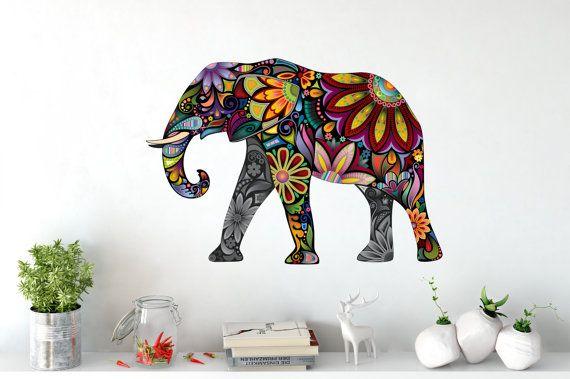 Wall Art Wall Tattoo Wall Decal Wall Sticker Boho Style Elephant India