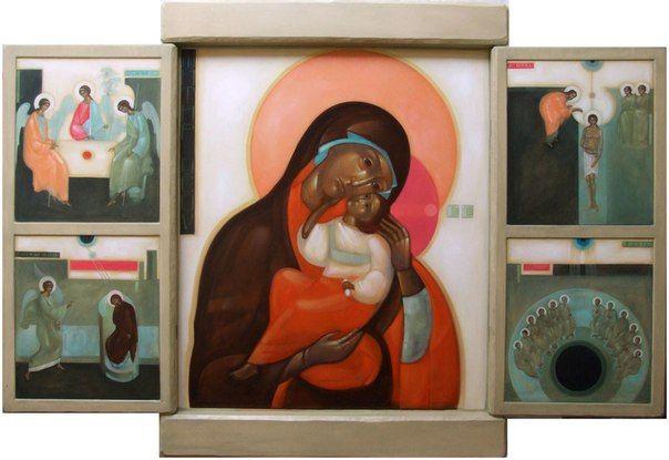 Theotokos and biblical scene Greta Maria Leśko