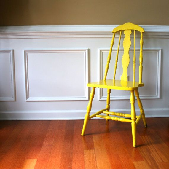 Rustic Yellow Wood Chair. Vintage Spring Country by RhapsodyAttic