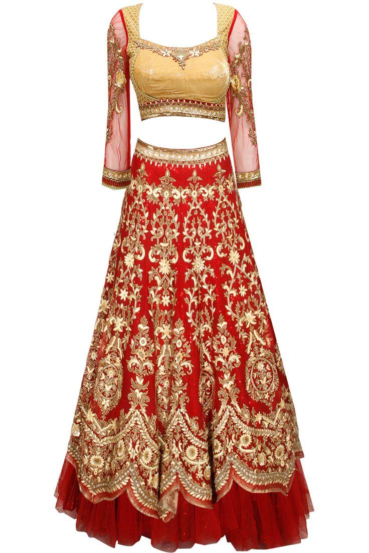 Maroon sequins and cutdana embroidered lehenga set by Tarun Tahiliani.