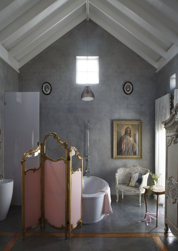 × Modern bath with lovely antique screen and chair / #interior #bath #romance