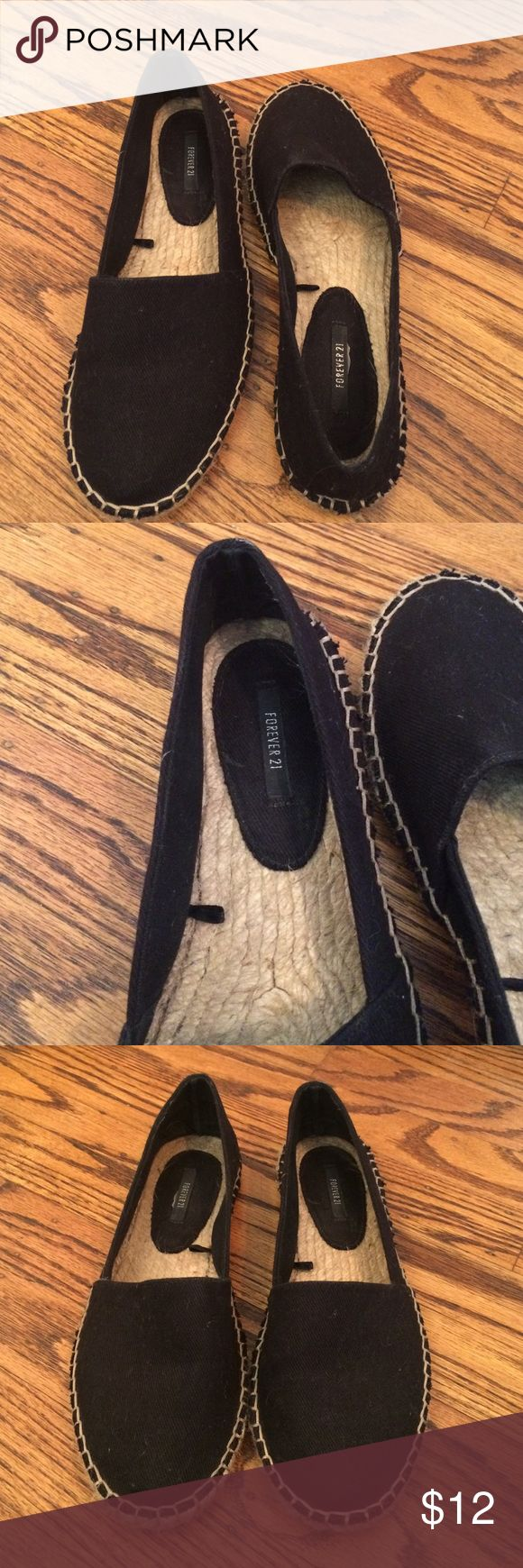 Espadrille Flats Black espadrille flats. Size 8. Excellent used condition. Worn just a few times Forever 21 Shoes Espadrilles