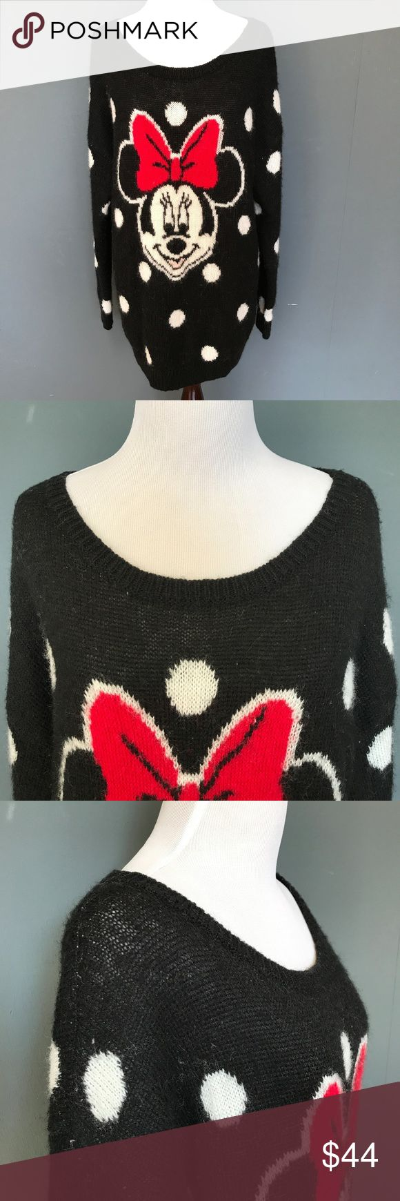 """H&M Minnie Sweater Wool Mohair Sweater - Small H&M Disney Minnie Sweater Small Black Oversized Sweater Mohair Wool Polka Dot S  Black medium weight oversized sweater with Minnie on the front and giant polka dots all over. Super soft and warm!   Excellent Condition!  Size: Small Bust (flat): 22"""" - 27"""" Length (from shoulder): 28""""  Sleeve (from shoulder) 20.5""""   72% Acrylic 12% Wool 9% Mohair.  Check out my Trixy Xchange Store for more sweaters and hoodies! :)  tags: womens girls halloween…"""