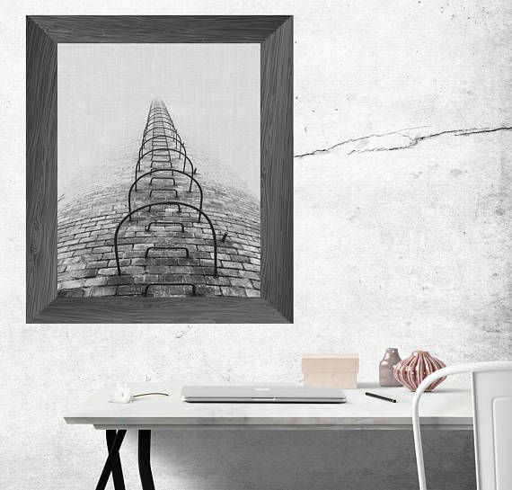 urban print industrial wall art black and white tower
