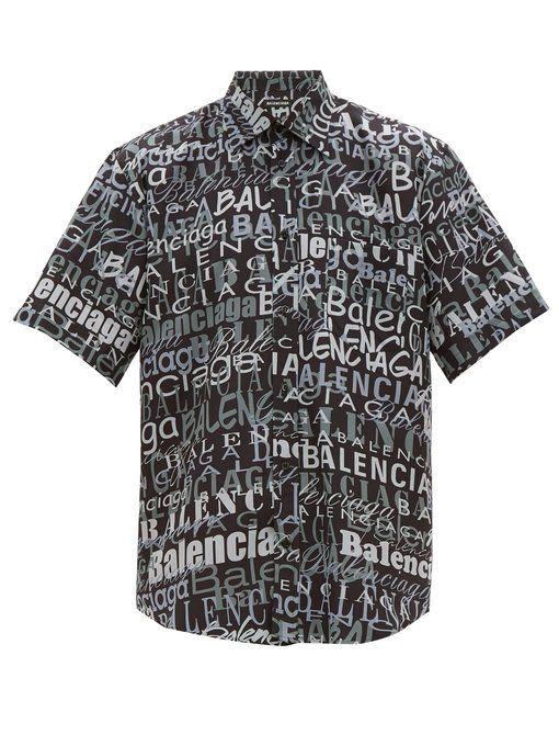0783aa864090ac BALENCIAGA Logo-print silk shirt. #balenciaga #cloth   Balenciaga in ...