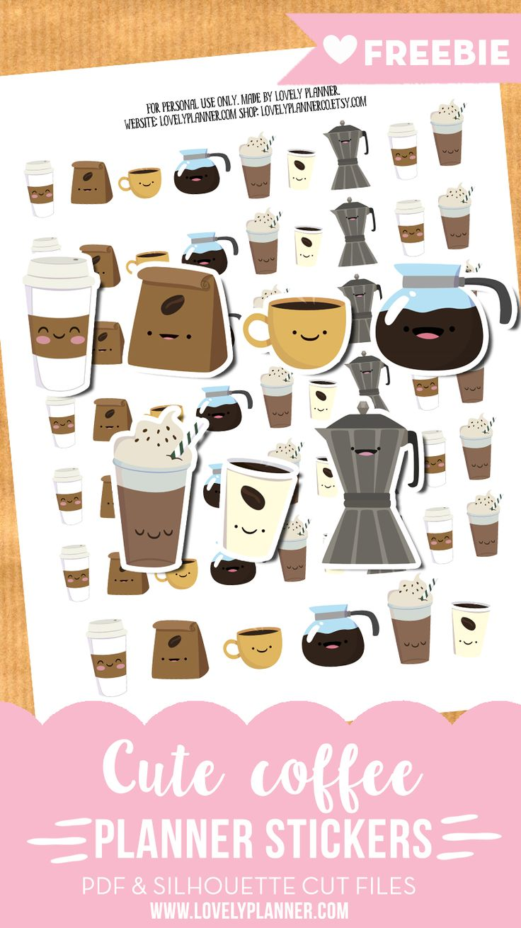 Free printable and cut file: Cute coffee planner stickers to monitor your coffee habits in your planner! More planner freebies on lovelyplanner.com