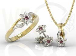 Pierścionek, kolczyki i wisiorek z żółtego i białego złota z rubinem / Ring, earrings and pendant made from yellow and white gold with ruby / 1 456PLN / #zestaw #jewellery_set #earrings #ring #pendant #ruby #rubin #wisiorek #kolczyki #pierscionek