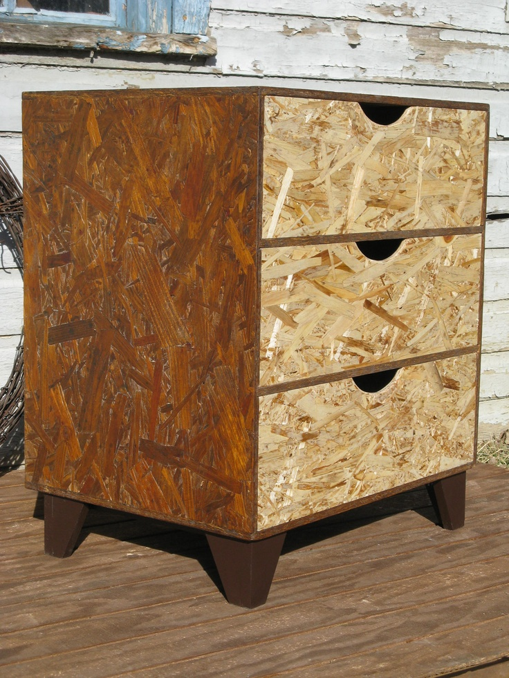 modular OSB brown dresser with black scoop pulls. via Etsy ...