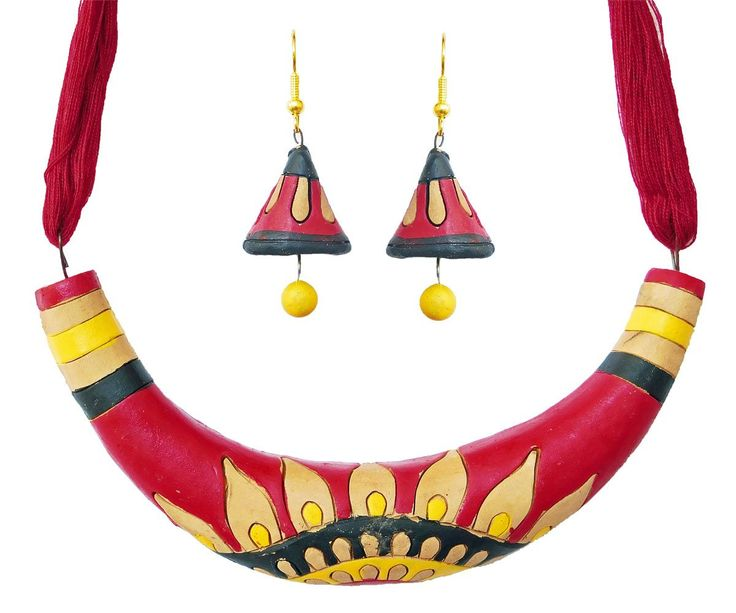 Hand Painted Terracotta Hansuli Necklace and Earrings (Terracotta)