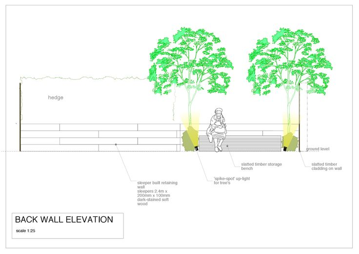 An elevation illustrating the relationship of a built in bench with its host wall and planting