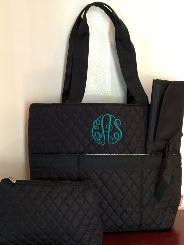 Personalized Quilted Diaper bag - Personalized Diaper Bag - Monogrammed Diaper Bags - 3 Piece Quilted Diaper Bag - Diaper Bag Set - Tote Bag by MJMonograms on Etsy