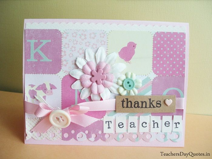 Beautiful Collection of HD Images of Decorative Handmade Greeting Cards Ideas with Thank You Messages for Teacher