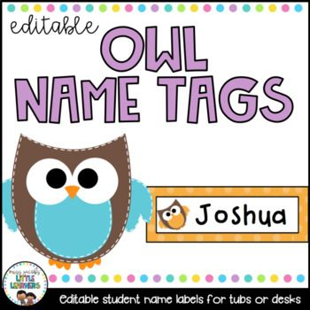 These cute owl themed student names labels come in 5 different colours and a total of 10 different designs. They are also editable which means all you have to do is choose your font, type in your students name, print and laminate/contact if you wish. Suitable for labelling student desks, locker tubs, playdough and tracing mats etc. **File is in Powerpoint and is editable**