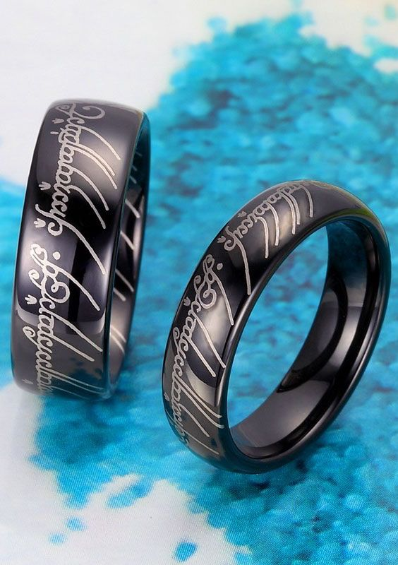 Black One Ring Lord Of The Rings Matching His And Hers Tungsten Wedding Bands Set