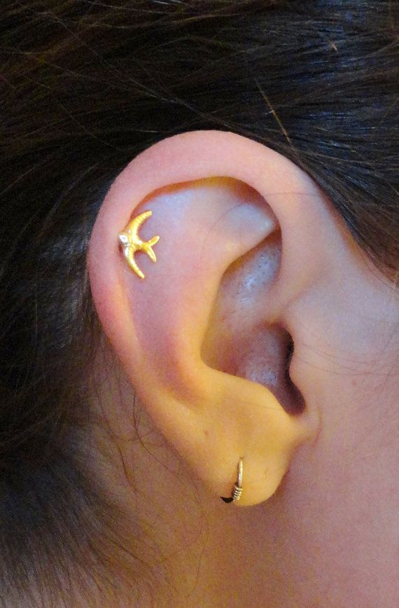 Sparrow Bird Cartilage Earring Tragus Helix by MidnightsMojo, $7.00
