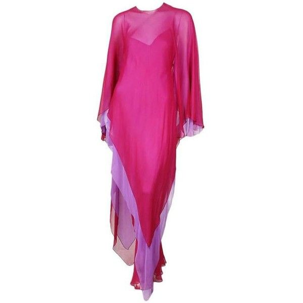 Preowned Halston Fuchsia And Lavender Chiffon Caftan Dress Circa 1970s ($5,200) ❤ liked on Polyvore featuring dresses, evening dresses, purple, pink poncho, sleeved poncho, chiffon poncho, lavender cocktail dress and purple chiffon dress