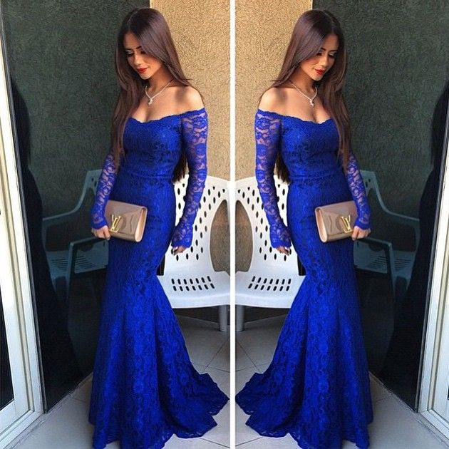 Royal Blue Lace Prom Dress, Simple Off-the-shoulder Prom Dresses with Long Sleeves, Mermaid Prom Dress, #020102214