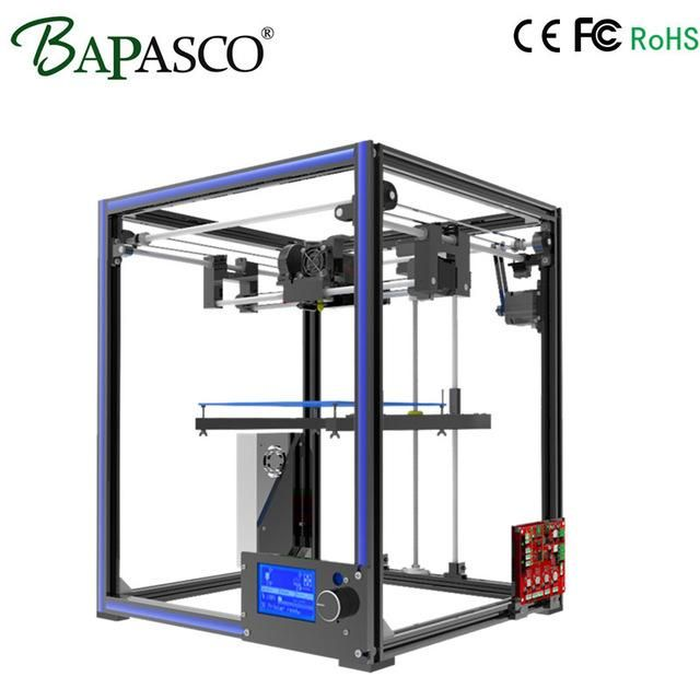 Upgarded Aluminium cube 3D Printer Kits BAPASCO X5 Full Metal Extrusion high precision 12864P LCD big printing size 210*210*280