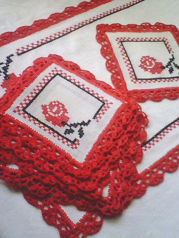 Napkins with cross stitch. A set napkins  decorated with cross stitch. Coasters coffe. Cross stitch
