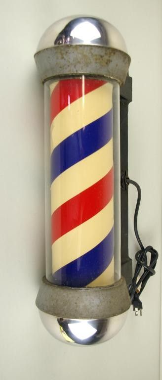 VINTAGE BARBER SHOP POLE mount marked Koken, tear,