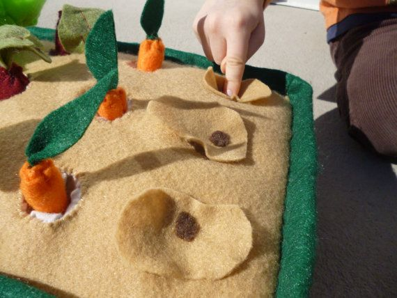 """cool play garden: plant the seeds, harvest the food! Use jersey for the """"hole""""-easy!"""