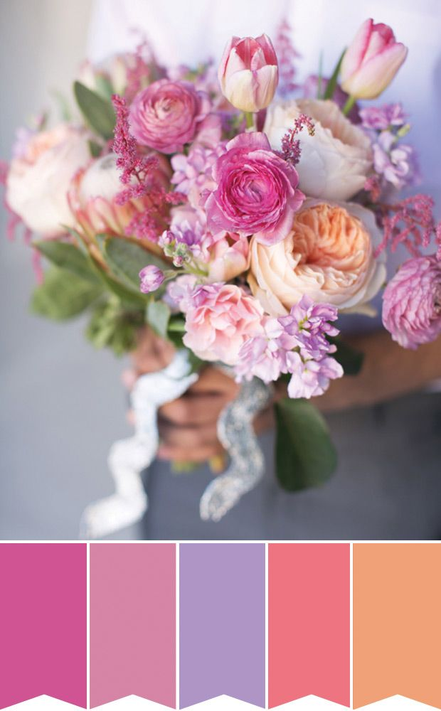 Pretty Pink Bridal Bouquet  | Pretty Bouquet Palettes to Inspire your Spring Wedding | www.onefabday.com