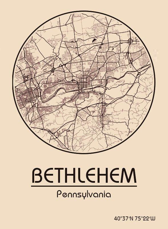 Karte / Map ~ Bethlehem, Pennsylvania - Vereinigte Staaten von Amerika / United States of America / USA
