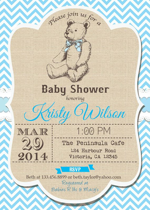 Teddy Baby Boy Shower invitation. Elegant vintage rustic burlap and blue chevron. Vintage teddy bear. Shabby chic, cottage chic. B38