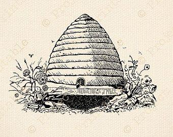 Vintage Beehive Drawing Printable