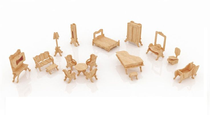 miniature dollhouse furniture woodworking. New Dollhouse Furniture Set Two Miniature Woodworking A