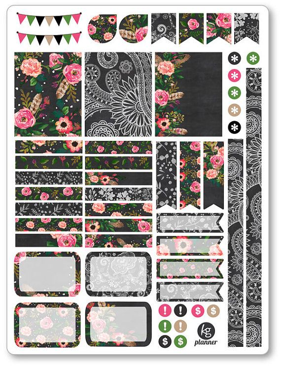 One 6 x 8 sheet of stickers cut and ready for use in your Erin Condren life planner, Filofax, Plum Paper, etc! •••••••• M A T E R I A L •••••••• MATTE:
