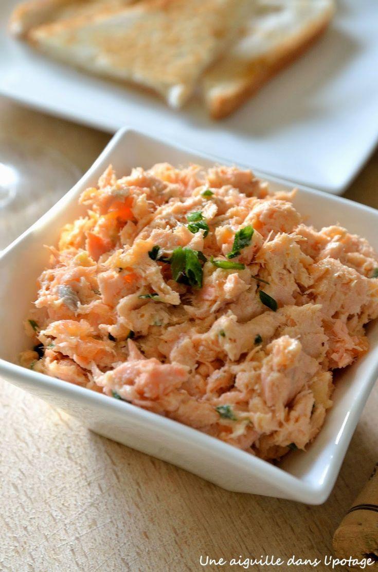 Rillettes aux deux saumons, façon joël robuchon. A déguster en entrée ou à l'apéritif .. La recette par une aiguille dans l potage.