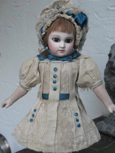 Antique-French-German-Wool-Doll-Dress-and-Bonnet