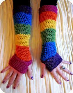February Jones: Crochet Rainbow Fingerless Gloves - Free Pattern