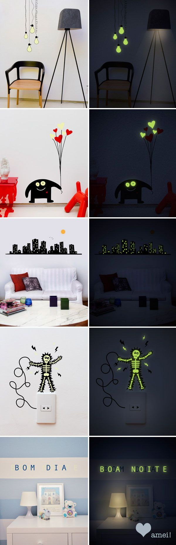 Cool wall stickers But one can recreate this with glow in the dark paint.  With the paint be sure to mark the areas you want to have glow and then paint the rest of the picture with regular paint!