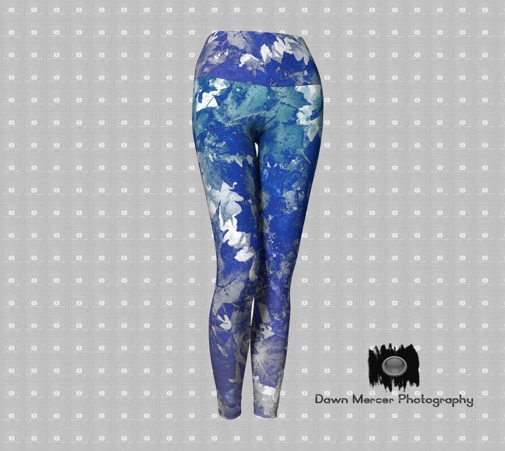 Blue Leaf Art Leggings, Printed Nature Art Yoga Leggings, Fashion Yoga Pants, Premium Leggings For Women by DawnMercerPhoto on Etsy