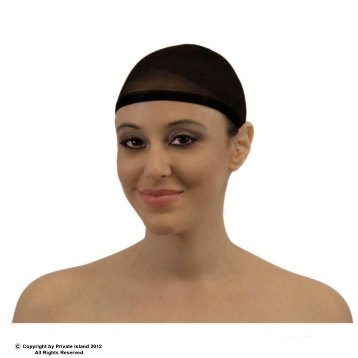 Private Island Party  - Black Wig Cap 216, $0.65 - $1.99    These wig caps are designed for to prevent one's hair from mixing with a wig.    This sheer black cap stretches to cover your head, holding in your hair.    After you have the wig cap securely in place, put the wig on over the top of the wig cap.    For Teens and Adults. Fits every head size and essential for all kinds of wigs.