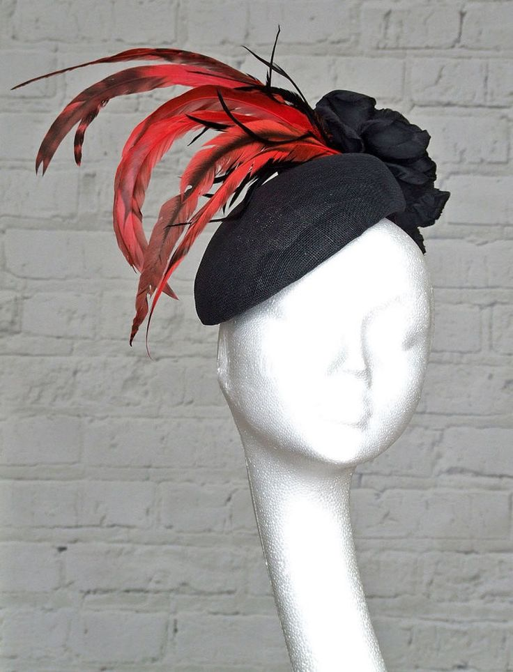 Black Red Fascinator Headpiece by CoggMillinery on Etsy https://www.etsy.com/uk/listing/231531499/black-red-fascinator-headpiece
